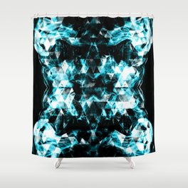Electrifying blue sparkly triangle flames Shower Curtain