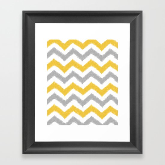 Chevron IKAT Framed Art Print