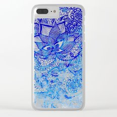 Modern china blue ombre watercolor floral lace hand drawn illustration Clear iPhone Case