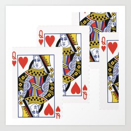 RED QUEEN OF HEARTS CASINO PLAYING CARDS Art Print