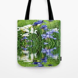 BLUE & WHITE IRIS WATER REFLECTION ART Tote Bag