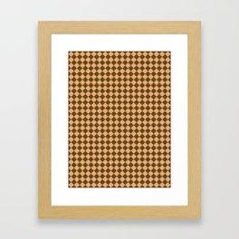 Tan Brown and Chocolate Brown Diamonds Framed Art Print
