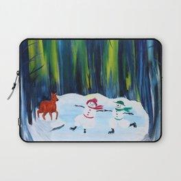 Christmas Night with dancing snowmen Laptop Sleeve