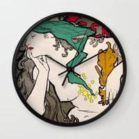 mucha Wall Clocks featuring Vintage Alphonse Mucha Poster Girl by Iconographique