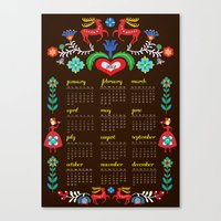 calender Canvas Prints featuring Folklore Calender 2012 by Elisandra