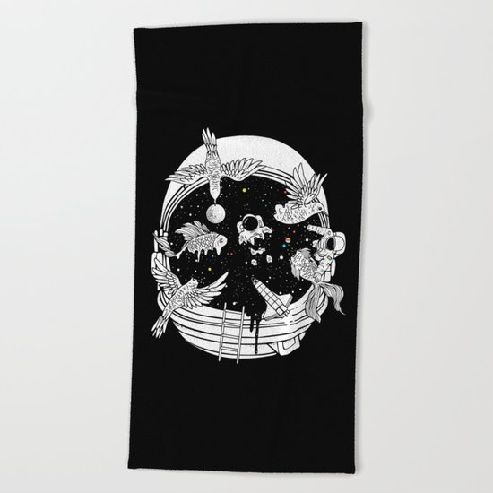 Depth of Discovery (A Case of Constant Curiosity-B/W) Beach Towel