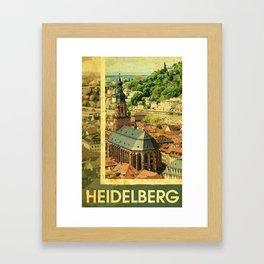 Retro Heidelberg Skyline Framed Art Print