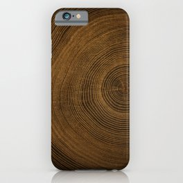 Detailed rich dark brown cut wood tree with growth rings pattern iPhone Case