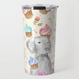 CUPCAKES AND WEIMARANER Travel Mug