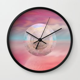 """Rose quartz sky on beach shore"" Wall Clock"
