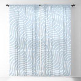 Whisker Pattern - Light Blue & White #285 Sheer Curtain