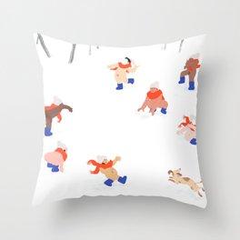 Nudist Snowball Fight Throw Pillow