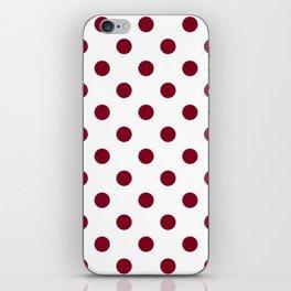 Polka Dots - Burgundy Red on White iPhone Skin