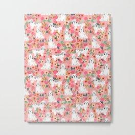Havanese Floral - dog, dogs, cute dog, white dog, flowers, florals, pink floral Metal Print