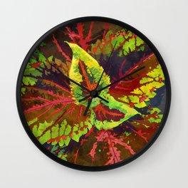 Bronze Red Coleus Ornamental Plant - Botanical Art Illustration Wall Clock
