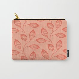 Climbing Leaves In Two Tone Living Coral Carry-All Pouch