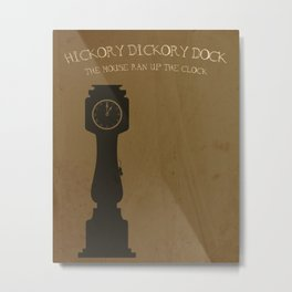Hickory Dickory Dock. Children's Nursery Rhyme Inspired Artwork. Metal Print