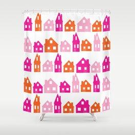Little Village Orange Shower Curtain