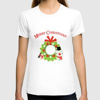 cartoons T-shirts featuring Festive Christmas Cartoons on Chevron Pattern by Kirsten Star