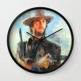 Portrait of Clint Eastwood Wall Clock