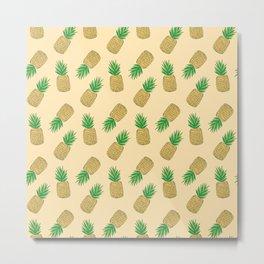 Creamy Pineapple Summer Pattern Metal Print