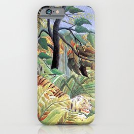 Tiger in a Tropical Storm (Surprised!) by Henri Rousseau 1891 // Jungle Rain Stormy Weather Scene iPhone Case