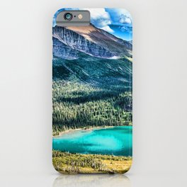 Grinnell Lake HDR beautiful nature Glacier National Park mountains forest USA America iPhone Case