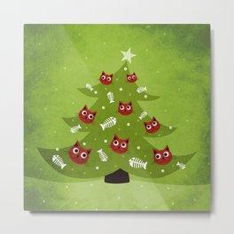 Cat Christmas Tree Metal Print