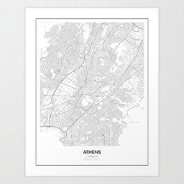 Athens, Greece Minimalist Map Art Print