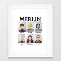 merlin Framed Art Prints featuring MERLIN by Space Bat designs