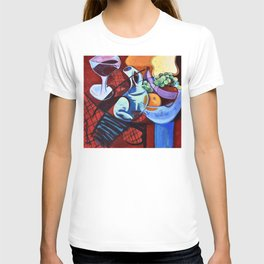 The Jug Did A Jig, Kitchen Cafe Fruit Bowl Wine Abstract Painting T-shirt