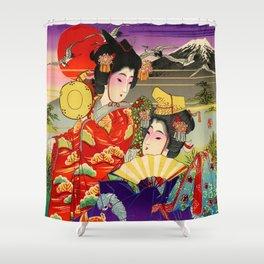Geishas with Mt. Fuji Shower Curtain