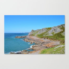 Worms Head in the Distance as seen from the Wales Coast Path Canvas Print