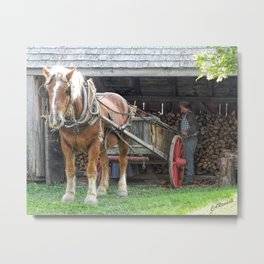 Stacking for Winter Metal Print