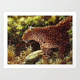 African Leopard Prowling Through The Jungle Art Print