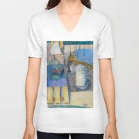 trumpet V-neck T-shirts featuring trumpet by Joasiekk