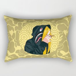 Bape Smoking Girl Yellow Rectangular Pillow