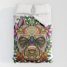 Pitbull Sugar Skull - Dias De Los Muertos Comforters