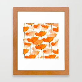 Orange Poppies On A White Background #decor #society6 #buyart Framed Art Print