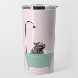 Hippo Enjoying Bubble Bath Travel Mug