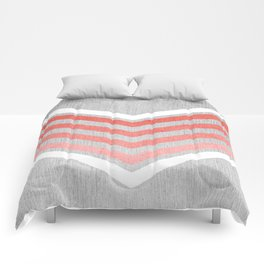 Coral Gradient Chevron on Silver Grey Wood Comforters