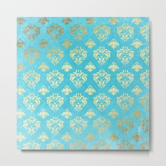 Mermaid Gold and Aqua Blue Seafoam Damask Metal Print