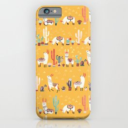 Happy llama with cactus in a pot iPhone Case