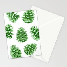 Minty Green Pine Cones Stationery Cards