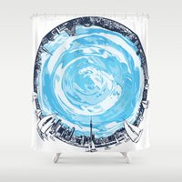 cities Shower Curtains featuring Paronamic NZ by MARIA BOZINA - PRINT