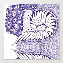 Blue Wash Art Deco Doodle Design Canvas Print