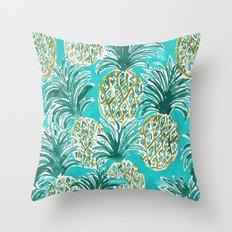 AQUA PINEAPPLE O'CLOCK Tropical Hawaiian Watercolor Throw Pillow