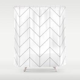 Herringbone Chevron (Thin Black On White) Shower Curtain