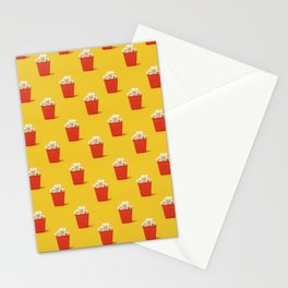 Mini red popcorn box with popcorn pattern on yellow. Stationery Cards