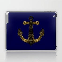 Yellow Gold sparkles Anchor on Dark navy blue Laptop & iPad Skin